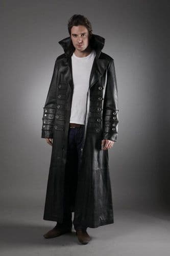 Men's Military Leather Trench Coat in Black